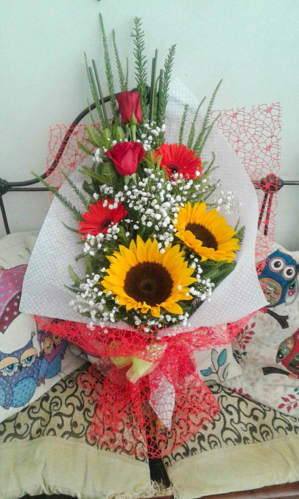 Bouquet con girasoles